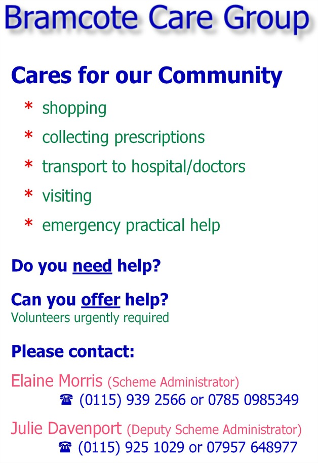 Bramcote Care Group Flyer (2013)