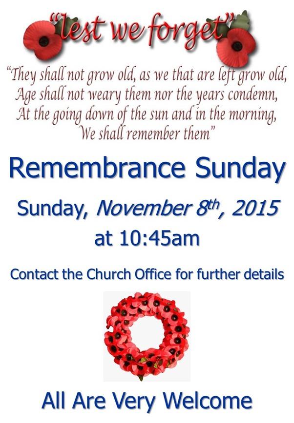 Remembrance Sunday Service Poster (2015)