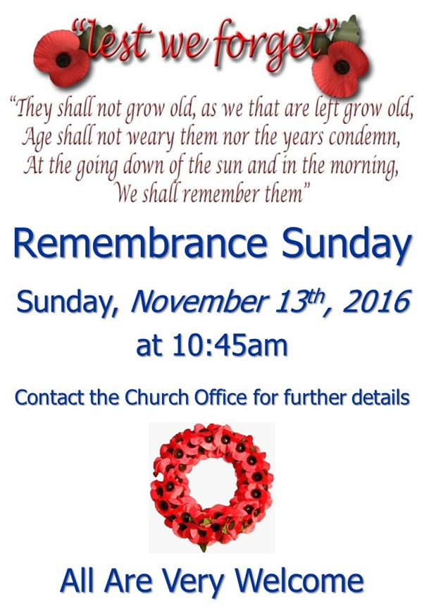 Remembrance Sunday Service Poster (2016)