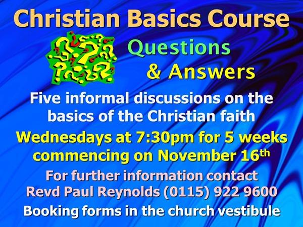Christian Basics Course (November 2016)